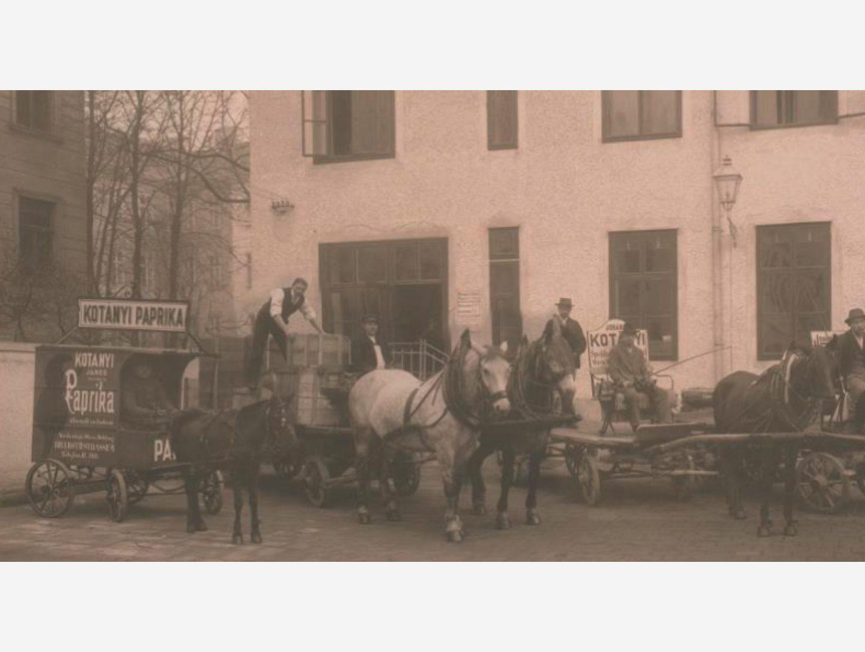 Crno-bijela fotografija: paprika se 1881. dostavlja konjskim zapregama