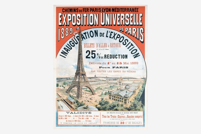 Poster Svjetske izložbe u Parizu 1889. s crtežom Eiffelovog tornja.