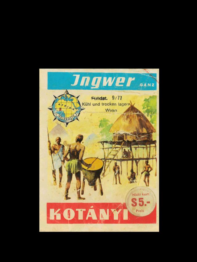 Vrećica đumbira Kotányi iz 1970-ih.