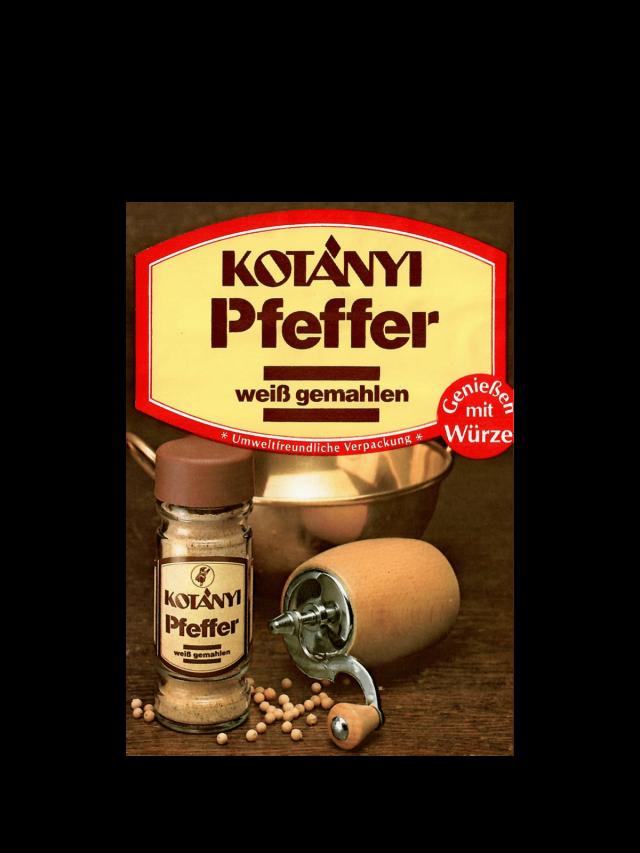 Vrećica bijelog papra Kotányi iz 1980-ih.