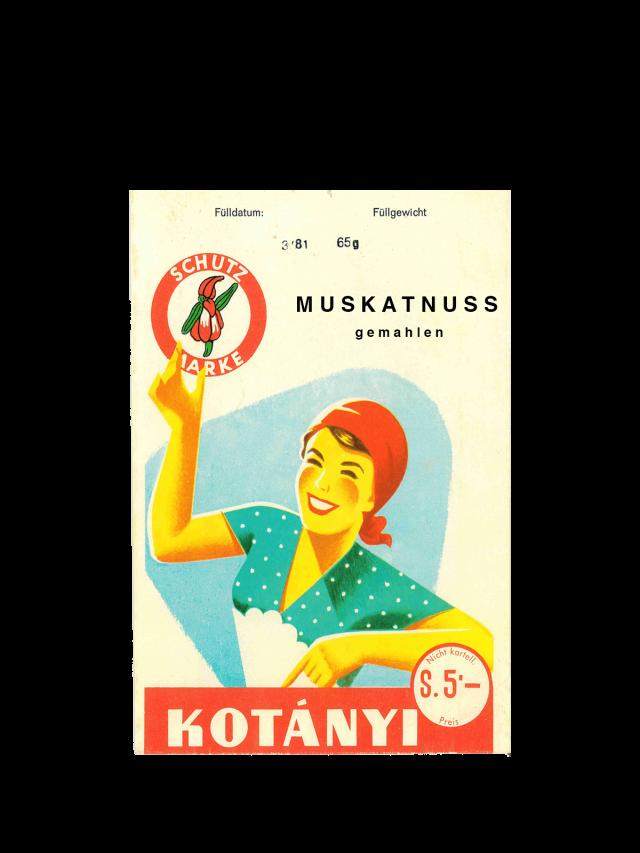 Vrećica muškatnog oraščića Kotányi iz 1950-ih.